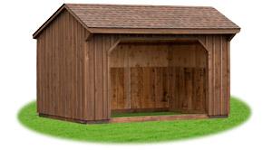 mushroom stained board 'n' batten run-in horse barn