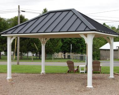 12x16 Custom Pavilion with standing seam metal roof available at Pine Creek Structures in Elizabethville (Berrysburg), PA